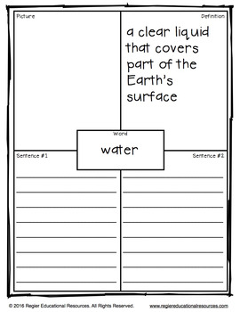 Vocabulary Activities | Vocabulary Graphic Organizers | Water Cycle Vocabulary