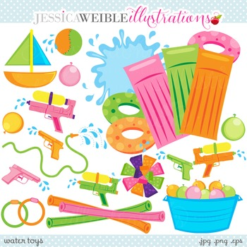 Water Toys Cute Digital Clipart, Pool Clip Art, Summer Swimming Graphics