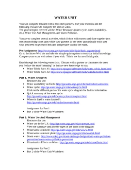 Water Unit: Webquest and Children's book/movie