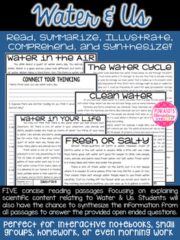 science articles water questions text comprehension paired