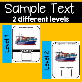 Water Vehicles Transportation Adapted Book Unit with Real Images 2 levels & MORE