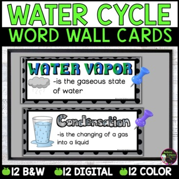 Water/Water Cycle Vocabulary Cards with definitions