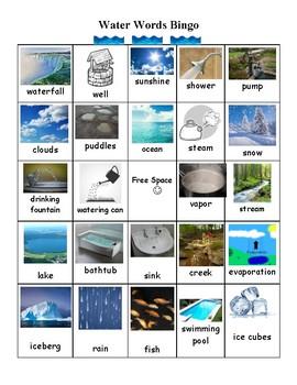 Water Words Bingo