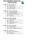 Water and Climate - FOSS - Table of Contents for Student Journal