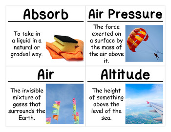 Water and Climate Science Vocabulary Cards