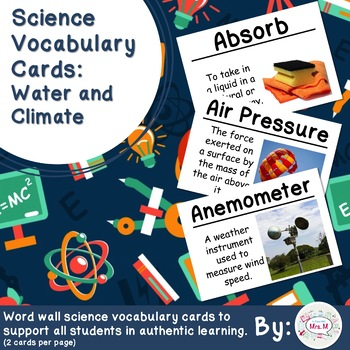 Water and Climate Science Vocabulary Cards (Large)