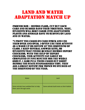 Water and Land Adaptation Match Up