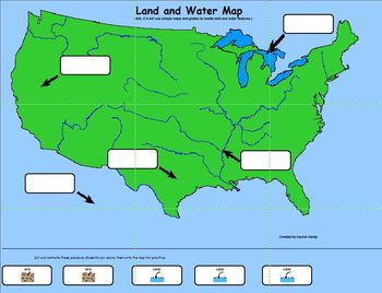 Water and Land on a Map Poster