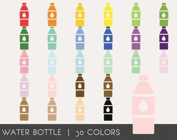 Water bottle Digital Clipart, Water bottle Graphics, Water