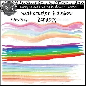 Watercolor Rainbow Borders (Smita Keisser Clip Art)