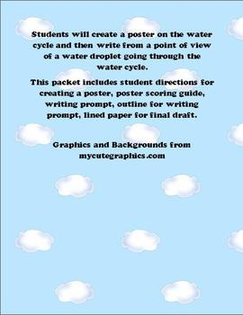 Water cycle poster and Writing prompt