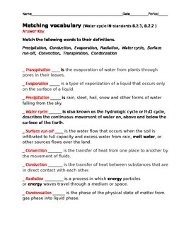 Water cycle vocabulary test with key