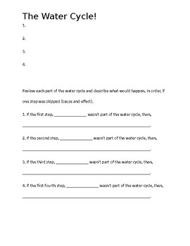 Water cycle worksheet and/or quiz