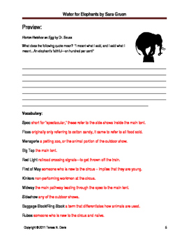 Water for Elephants Thematic Literary Unit