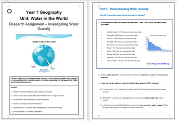 Water in the world: Water Scarcity Assignment with 'Rubric'