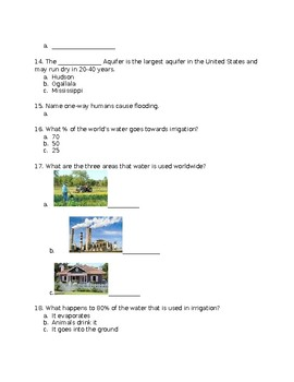 Water on Earth Unit Test & Answer Sheet