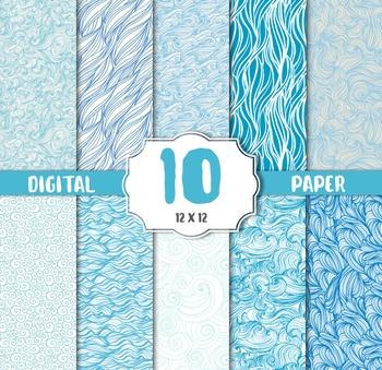 Water textur Digital Papers, Bubble, Sea, Wave Digital Paper