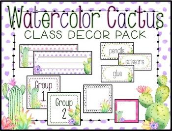 WaterColor Cactus Classroom Decoration Pack