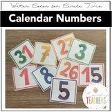 WaterColor Circle Time Calendar Numbers