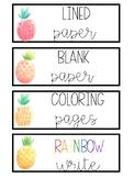 WaterColor Pineapple Labels
