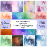 WaterColour Backgrounds/ Digital papers/ 13 sheets printab