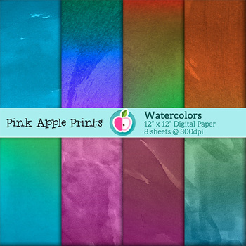 Watercolor Style Digital Paper Texture Set - Graphics for Teachers