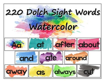Bright Watercolor 220 Set of Dolch Sight Words and Headings for Word Wall