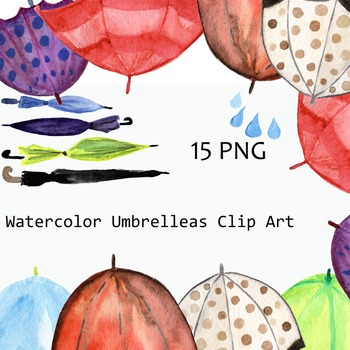 Watercolor Umbrellas Clip Art Set