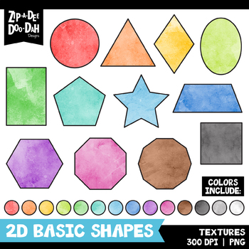 Watercolor 2D Basic Shapes Clipart Set {Zip-A-Dee-Doo-Dah Designs}