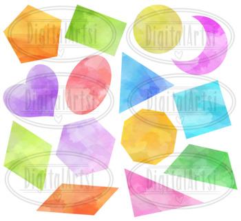 Watercolor 2D Shapes Clipart