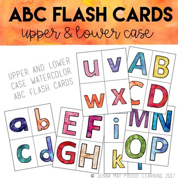 Watercolor ABC Flash Cards or Word Wall Letters
