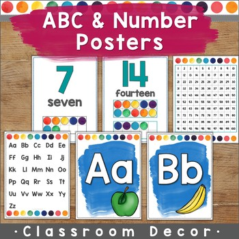 Watercolor ABC & Number Posters