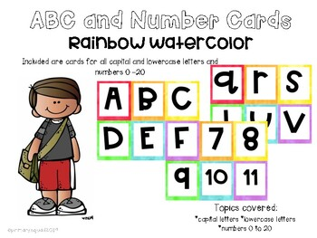 Watercolor ABC and Number Cards