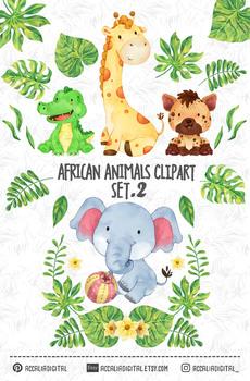 Watercolor African Safari Animals, Friendly animal buddies set 2