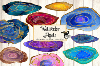 Watercolor Agate Slices Clipart