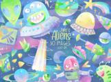 Watercolor Aliens Clipart