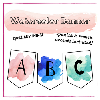 Watercolor Alphabet Banner