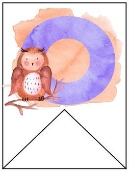 Watercolor Alphabet- Bunting