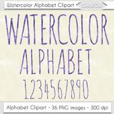 Watercolor Alphabet Clip Art Purple Letters Numbers Text W