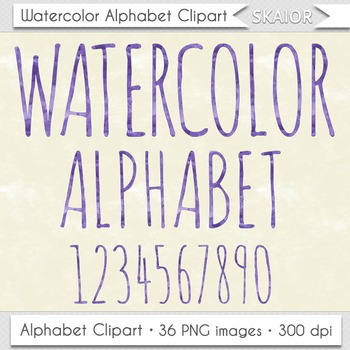 Watercolor Alphabet Clip Art Purple Letters Numbers Text W