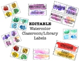 EDITABLE Watercolor Classroom/Library Labels