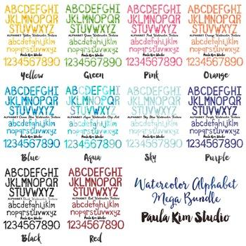 Watercolor Alphabet Letters Mega Bundle