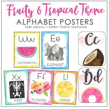 Watercolor Alphabet & Number Posters- Cursive
