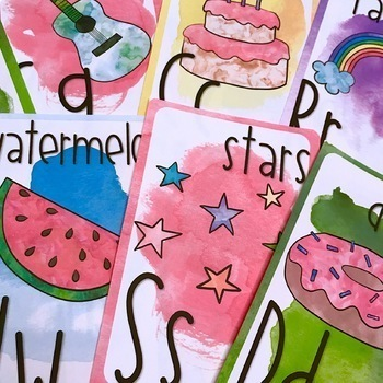 Watercolor Alphabet Poster Letters and Banner