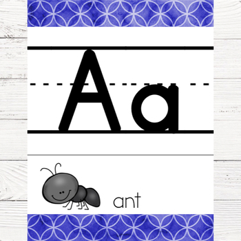Watercolor Alphabet Poster with Pictures