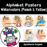 Watercolor Alphabet Posters (Peach & Yellow)