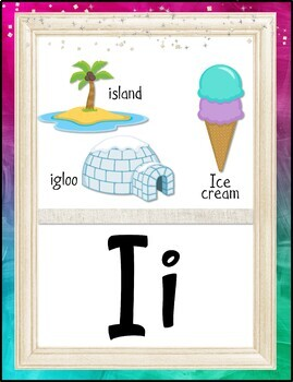 Watercolor Alphabet Posters - Pictures and Words