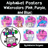 Watercolor Alphabet Posters (Pink, Purple, and Blue)