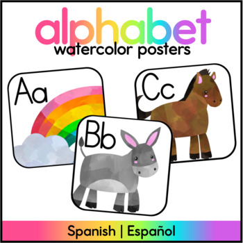 Watercolor Alphabet Posters - Spanish