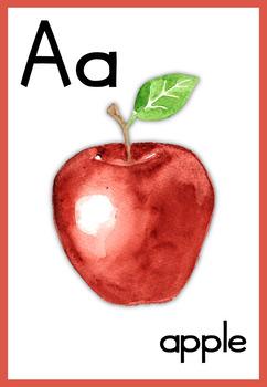 Watercolor Alphabet Posters (US, UK, Intl. English) ELA White Background